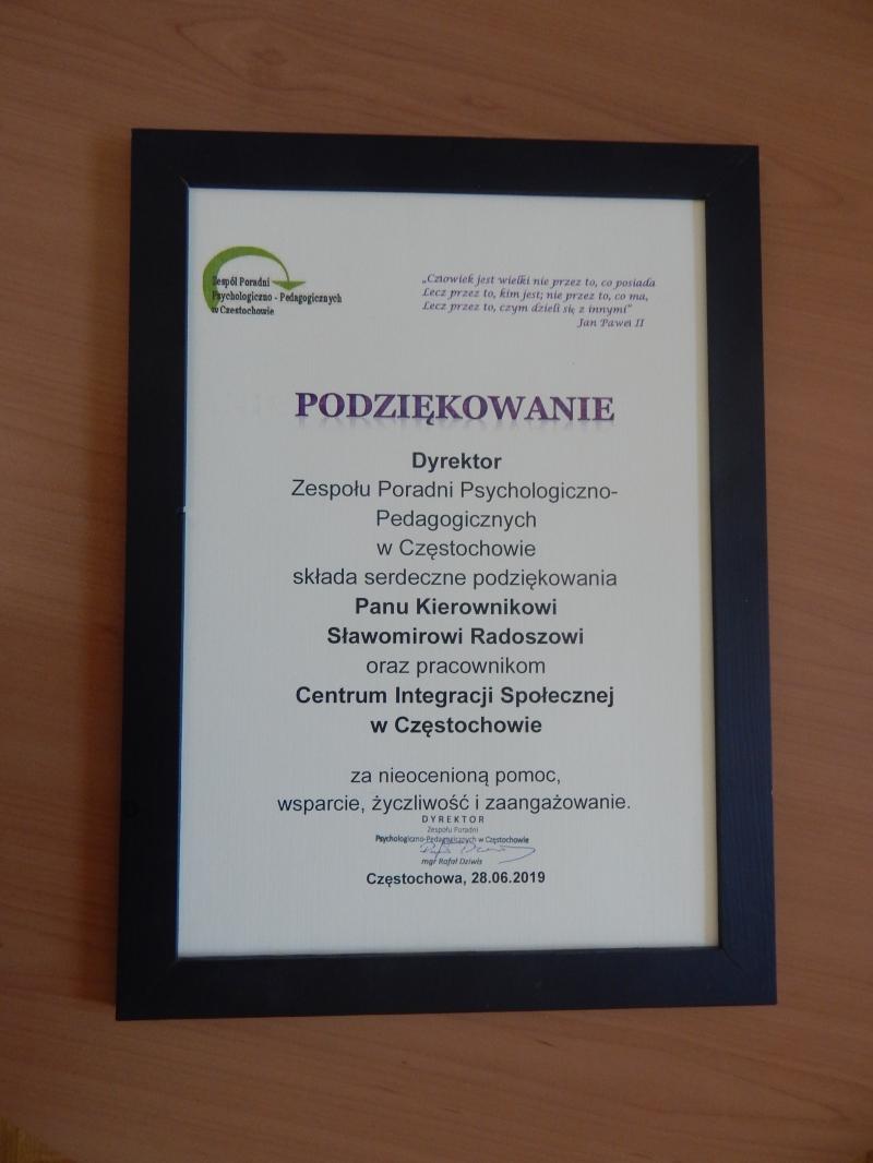 Podziękowanie dla Pana Kierownika Centrum Integracji Społecznej